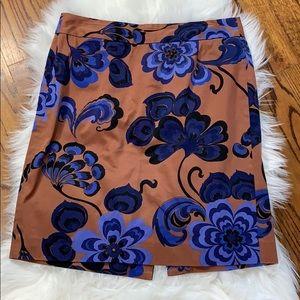 J. Crew Brown & Blue Floral Sateen Pencil Skirt